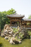 Asia China, Beijing, elm village, park, garden architecture,Pavilion, gallery, rockery Royalty Free Stock Photos