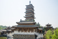 Asia China, Beijing, elm village, park, garden architecture,The wooden tower, pavilions, terraces and open halls Royalty Free Stock Photos