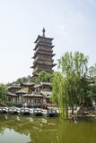 Asia China, Beijing, elm village, park, garden architecture,The wooden tower, pavilions, terraces and open halls Royalty Free Stock Image