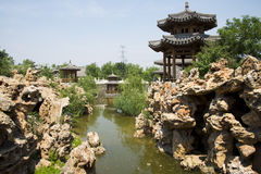 Asia China, Beijing, elm village, park, garden architecture,Pavilion, rockery Stock Photography