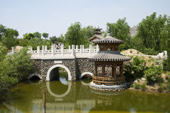 Asia China, Beijing, elm village, park, garden architecture,The stone bridge, Pavilion Royalty Free Stock Photography