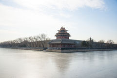 Asia China, Beijing, the Forbidden City, turrets. Royal gardens, classical architecture, the winter landscape stock image
