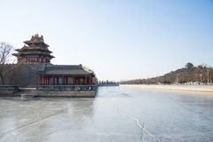 Asia China, Beijing, the Forbidden City, turrets. Royal gardens, classical architecture, the winter landscape royalty free stock photography