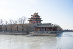 Asia China, Beijing, the Forbidden City, turrets. Royal gardens, classical architecture, the winter landscape stock photos