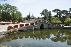 Asia China, Beijing, Fragrant Hill Park,Lakeview, stone bridge Royalty Free Stock Photo