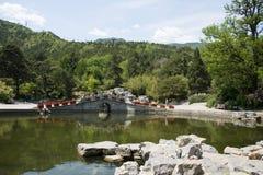 Asia China, Beijing, Fragrant Hill Park,Lakeview, stone bridge Royalty Free Stock Photos