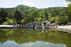 Asia China, Beijing, Fragrant Hill Park,Single hole stone bridge Stock Photo