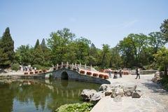 Asia China, Beijing, Fragrant Hill Park, Stone arch bridge Stock Photos