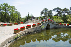 Asia China, Beijing, Fragrant Hill Park, Stone arch bridge Stock Image
