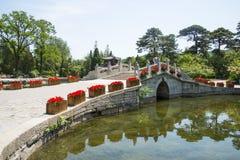 Asia China, Beijing, Fragrant Hill Park, Stone arch bridge Stock Image