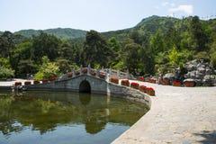 Asia China, Beijing, Fragrant Hill Park, Stone arch bridge Stock Photo
