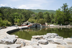 Asia China, Beijing, Fragrant Hill Park, Stone arch bridge Royalty Free Stock Image