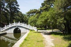 Asia China, Beijing, Fragrant Hill Park,Zhao Temple, stone bridge Stock Image