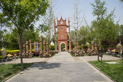 Asia China, Beijing, garden expo,Garden architecture,Bell tower Stock Photography