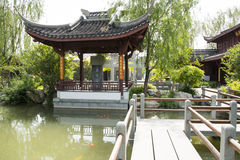 Asia China, Beijing, garden expo,Garden architecture,Pavilion, stone bridge Royalty Free Stock Photo