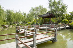 Asia China, Beijing, garden expo,Garden architecture,Pavilion, stone bridge Royalty Free Stock Photography