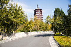Asia China, Beijing, Garden Expo, Yongding tower, road, autumn leaves Stock Photography