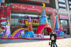 Asia China, Beijing, glory mall , Plaza Christmas decoration. Asia China, Beijing, glory mall , the city complex construction, set shopping, dining Stock Photography
