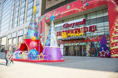 Asia China, Beijing, glory mall , Plaza Christmas decoration. Asia China, Beijing, glory mall , the city complex construction, set shopping, dining Stock Image
