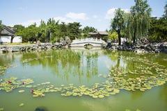 Asia China, Beijing, Grand View Garden, Lakeview, stone bridge Stock Photos