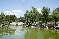 Asia China, Beijing, Grand View Garden,Lakeview, stone bridge Royalty Free Stock Photography