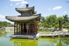 Asia China, Beijing, Grand View Garden, landscape architecture, Qin Fang Pavilion Bridge Royalty Free Stock Photography