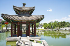 Asia China, Beijing, Grand View Garden, landscape architecture, Qin Fang Pavilion Bridge Stock Images
