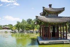 Asia China, Beijing, Grand View Garden, Qin Fang Pavilion Bridge Royalty Free Stock Photos