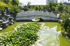 Asia China, Beijing, Grand View Garden,The stone bridge, lotus pond Stock Image