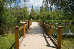 Asia China, Beijing, Guishui River Forest Park,The wooden bridge Stock Image