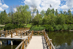 Asia China, Beijing, Guishui River Forest Park,The wooden bridge Stock Photo