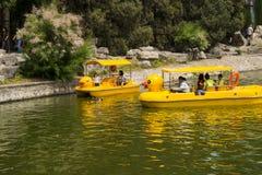Asia China, Beijing, Honglingjin Park, lake, yellow duck boat Royalty Free Stock Images