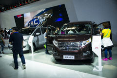 Asia China, Beijing, 2016 international automobile exhibition, Indoor exhibition hall,Jianghuai refine, high-end MPV,. China and Asia, Beijing, 2016 Stock Image