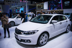 Asia China, Beijing, 2016 international automobile exhibition, indoor exhibition hall,QOROS. China and Asia, Beijing, 2016 international automobile exhibition royalty free stock photography
