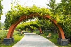 Asia China, Beijing, international flower port,Bench, Midorito, arch door, Stock Photography