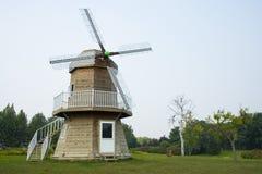Asia China, Beijing, international flower port, landscape architecture, windmill Stock Photography