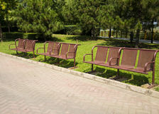 Asia China, Beijing, Jianhe Park,Iron chair Stock Images