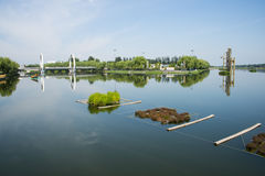 Asia China, Beijing, Jianhe Park,Lakeview, bridge, water tankers Royalty Free Stock Image