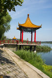 Asia China, Beijing, Jianhe Park, Pavilion,Wood railings Stock Photography