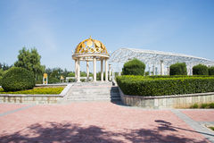Asia China, Beijing, Jianhe Park, wrought iron, circular Pavilion, a long corridor, Royalty Free Stock Image