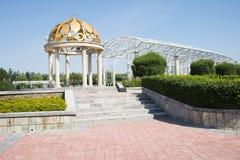 Asia China, Beijing, Jianhe Park, wrought iron, circular Pavilion, a long corridor, Royalty Free Stock Photos
