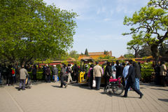 Asia China, Beijing, Jingshan Hill Park, spring garden landscape,Peony Festival Stock Photography