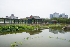 Asia, China, Beijing, lianhuachi park,Summer landscape, lotus pond, pavilions, corridors Stock Photos