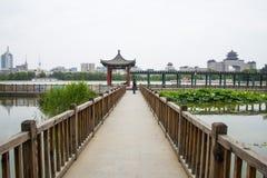 Asia, China, Beijing, lianhuachi park,Summer landscape, lotus pond, pavilions, corridors Stock Image