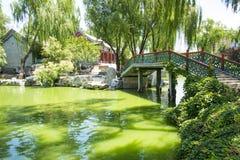 Asia China, Beijing, Longtan Lake Park,Architectural landscape,wooden bridge Stock Images