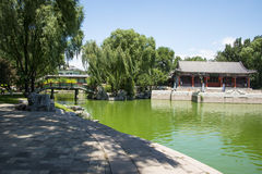 Asia China, Beijing, Longtan Lake Park,Garden landscape, Pavilion Stock Image