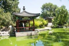 Asia China, Beijing, Longtan Lake Park,Garden landscape, Pavilion Royalty Free Stock Images