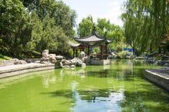 Asia China, Beijing, Longtan Lake Park,Garden landscape, Pavilion Stock Images