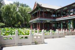 Asia China, Beijing, Longtan Lake Park, lotus pond and antique building Stock Photo