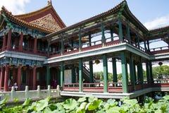Asia China, Beijing, Longtan Lake Park, lotus pond and antique building Stock Photos